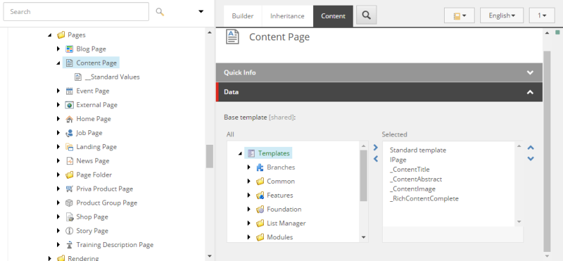 Sitecore Project Template - Helix - A constructed page template based on two interface templates